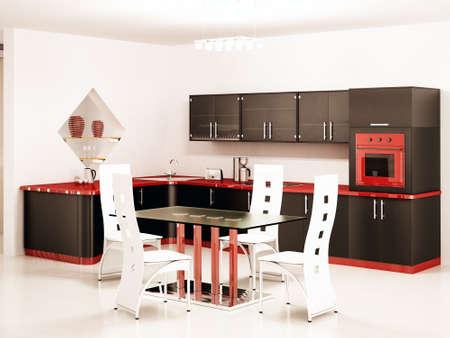 Inter of modern black kitchen 3d render Stock Photo - 4823619