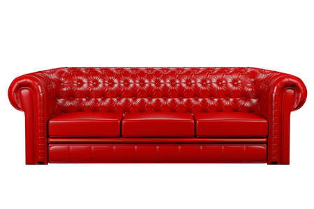 red leather sofa isolated over the white 3d Stock Photo
