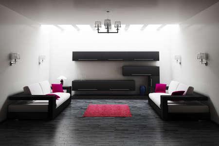 wall sconce: Interior de la vida moderna sala 3d hacer