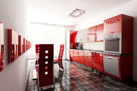 interior of modern kitchen 3d render photo