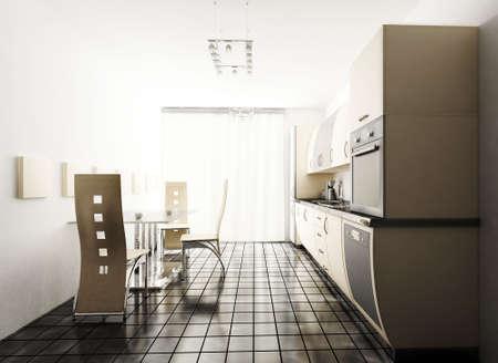 Interior of modern beige kitchen 3d render Stock Photo - 4971219
