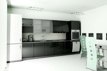 Int�rieur de cuisine moderne noir 3d rendre