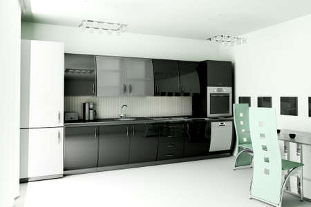 Interior of modern black kitchen 3d render Stock Photo - 4971205
