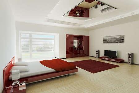 Modern bedroom inter 3d render Stock Photo - 5587440