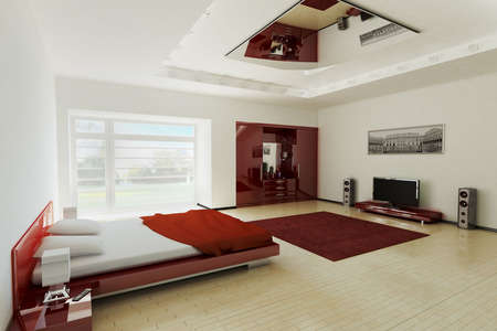 Modern bedroom interior 3d render photo