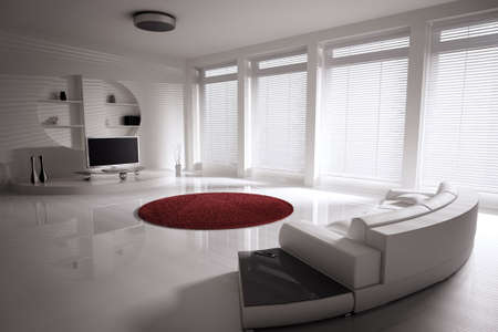 Living room with sofa and lcd tv interior 3d render photo