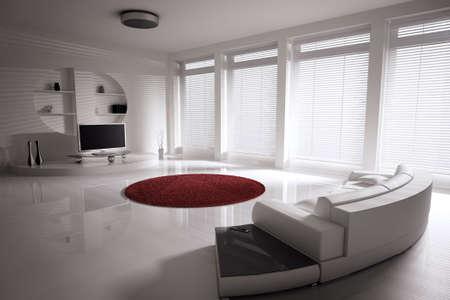 Salon avec canap� et lcd tv int�rieur 3d rendu  Banque d'images
