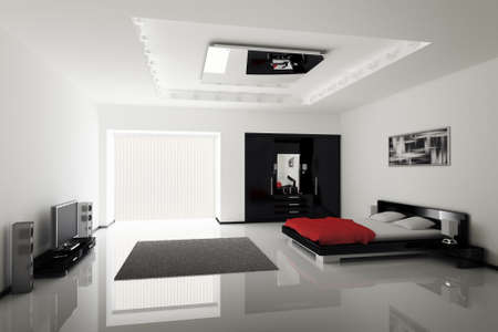 Modern bedroom interior 3d render Stock Photo - 5624228