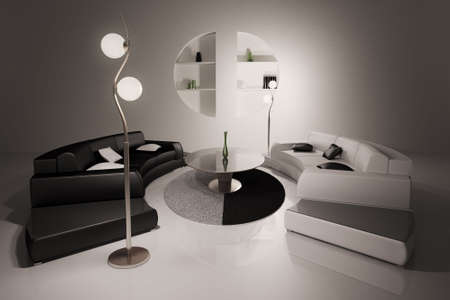 Living room with black and white sofas interior 3d render photo