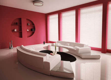 Living room with white sofas interior 3d render photo