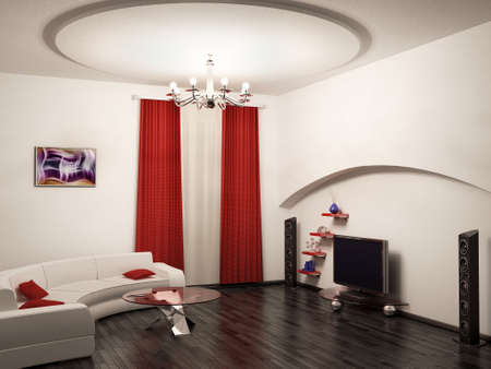 Living room interior 3d render photo