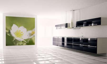 Inter of modern black white kitchen 3d render Stock Photo - 5846178
