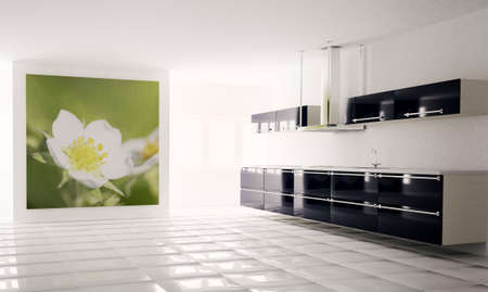 Interior of modern black white kitchen 3d render photo