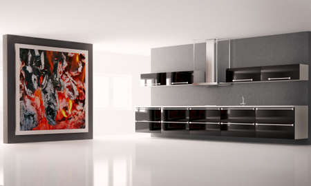 Modern kitchen with big picture on the wall interior photo