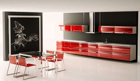 Interior of modern kitchen with big picture on the wall 3d render