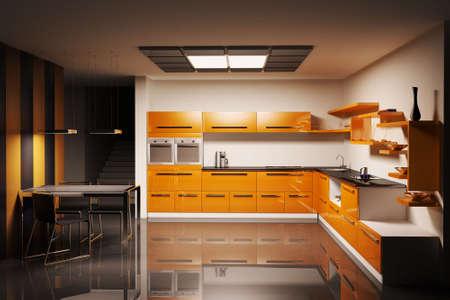Modern kitchen interior 3d render photo