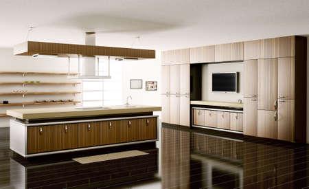 Inter of modern kitchen 3d render Stock Photo - 5873198