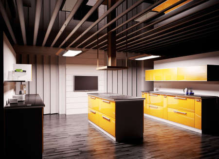 Interior of modern kitchen 3d render Stock Photo - 5873199