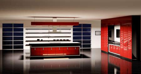 Inter of modern kitchen 3d render Stock Photo - 5885292
