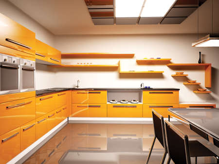 contemporary kitchen: Interior of modern orange kitchen 3d render