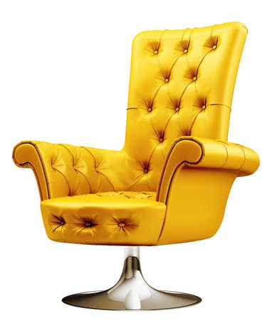 round chairs: Yellow office chair Stock Photo