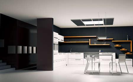 Int�rieur de la cuisine moderne de rendu 3d