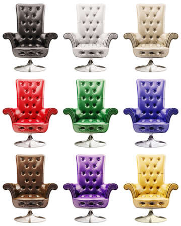multi-coloured leather armchairs isolated over the white 3d photo