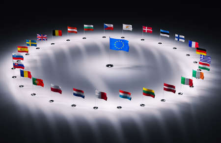 european community: twenty seven european union flags 3d render