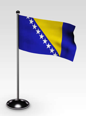 bosnian: Small Bosnia and Herzegovina flag with clipping path 3d render Stock Photo