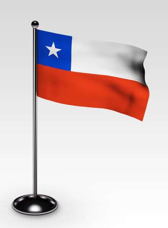 Small Chile flag with clipping path 3d render photo