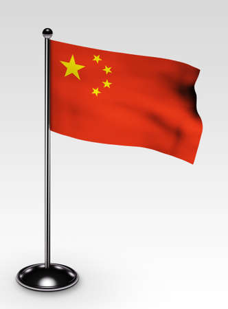 Small China flag with clipping path 3d render Stock Photo - 5968299