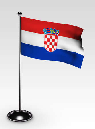 Small Croatia flag with clipping path 3d render photo