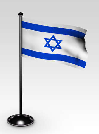 Small Israel flag with clipping path 3d render photo