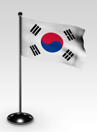 Small Korea Southflag with clipping path 3d render photo