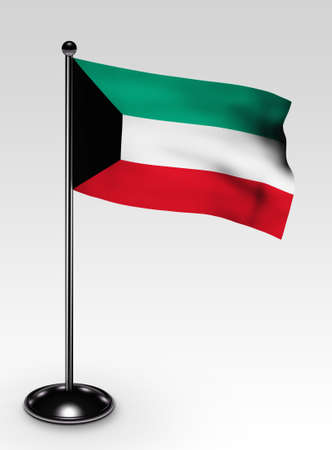 Small Kuwait flag with clipping path 3d render photo