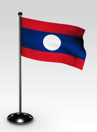 Small Laos flag with clipping path 3d render photo