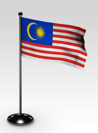 Small Malaysia flag with clipping path 3d render photo