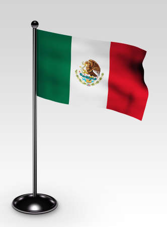 Small Mexico flag with clipping path 3d render photo