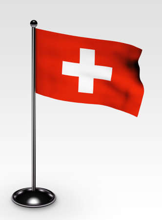 Small Switzerland flag with 3d render photo