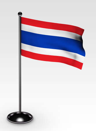 Small Thailand flag with 3d render Stock Photo - 5984623