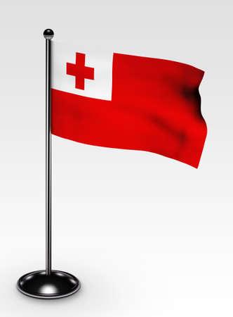 tonga: Small Tonga flag with 3d render Stock Photo