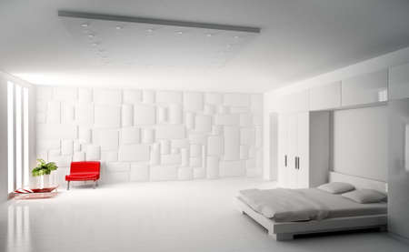 Modern white bedroom with red armchair interior 3d render Stock Photo - 6027678