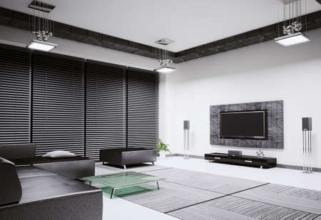 Living room with sofa and lcd tv interior 3d render