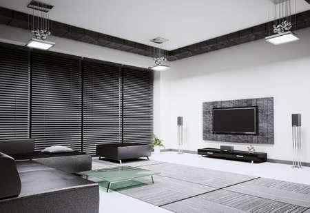 Salon avec canap� et lcd tv int�rieur 3d rendu