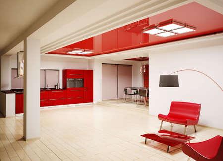 Interior of modern red kitchen 3d render photo