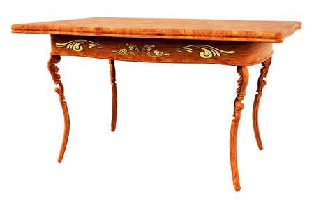 arredamento classico: Antiquariato tavolo in legno isolato su 3d bianco Archivio Fotografico