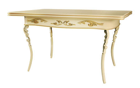 tabletop: Antique Table isolated over white 3d render