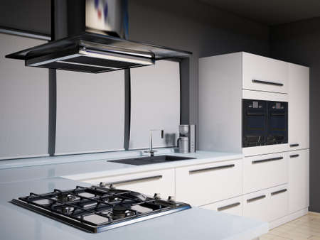 fitting: Interior of modern kitchen with gas cooker 3d render Stock Photo