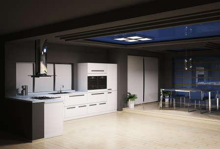 Interior of modern kitchen 3d render Stock Photo - 6108886