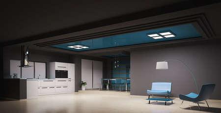 Int�rieur de la cuisine moderne de rendu 3d  Banque d'images